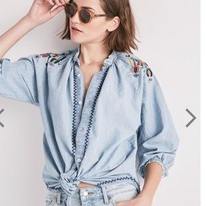 Lucky Brand Peasant Embroidered Chambray Tunic Top